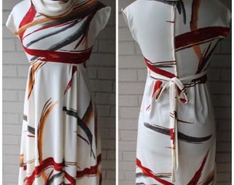 Vintage 70s Autumn Brushstroke Dress - Gorgeous Cowl Neck - Size Extra Small, Small