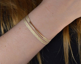 Tube Bracelet 14K gold * and woven Ribbon silver wire