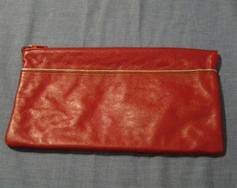 Vintage Red Leather Zip Top Clutch Purse With Gold Cord Trim