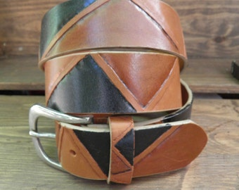 4 cm leather belt handmade coutry
