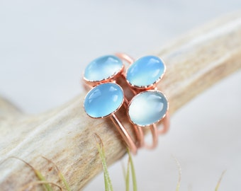 Blue Chalcedony ring - Blue Chalcedony cabochon ring - Chalcedony ring - Gemstone ring - Copper ring - Boho ring