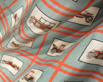 Mid Century Silk Scarf Modern Novelty with Early Cars