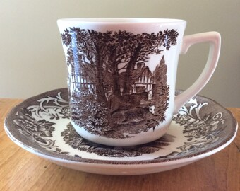 Vintage J G Meakin coffee cup saucer romantic England brown ironstone mug