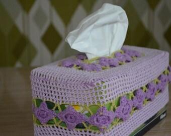 Mauve Crocheted Tissue Box Cover