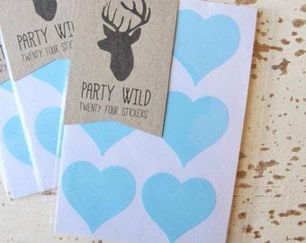 Heart Stickers Pk24 3.8cm - Pastel Blue