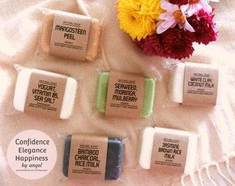 Vegan Organic handmade soap essential oils bath beauty skin natural Yogurt sea salt Mango seaweed Bamboo Charcoal coconut Jasmine rice milk