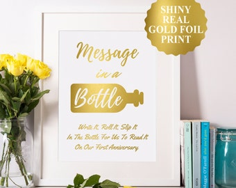 Message In A Bottle Sign, Gold Foil Message In A Bottle Wedding, Message In A Bottle Guest Book, Bottle Guest Book, Wedding Guest Book 8x10