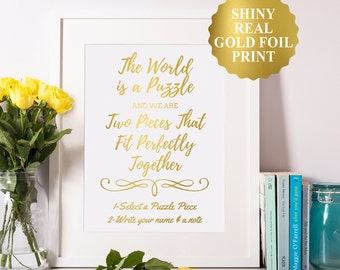 Puzzle Guest Book Sign, Gold Foil Puzzle Guest Book Instructions, Wedding Puzzle, Guest Book Puzzle, Guestbook Puzzle, Personalized Puzzle