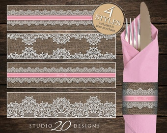 Instant Download Burlap and Lace Napkin Rings, Printable Rustic Bridal Shower Napkin Wraparounds, Pink Burlap Miss to Mrs. Napkin Rings 23A