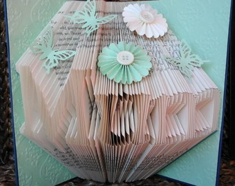 Folded Book Art Any Name Folding Sculpture Spring Green Plain/Embellished/Embossed Birthday Christmas Anniversary Wedding New Baby Valentine