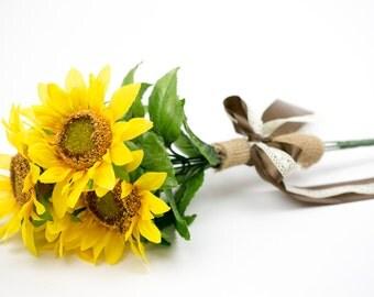 Silk Flower Wedding Photo accessories crown and silk sunflower bouquet set