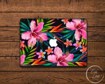 MacBook Vinyl Decal Floral - MacBook Air Sticker - Watercolor MacBook Skin - Vivid Jungle patter in watercolor MacBook Sticker EL015
