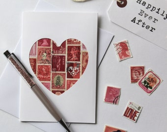 I Love You Card - Future Husband Card - 1st Anniversary Card - Wedding Card for Bride - First Anniversary Card - Love Cards - Vintage Stamps