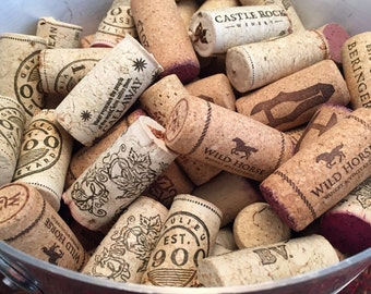 50 Used Corks - 100% Natural Wine Corks - Cork Craft Supply- A Variety Of Corks From Many Vintage Wineries,