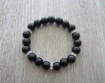 All Is Well - Black Onyx And Swarovski Crystal Bracelet