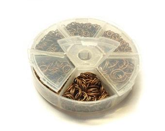1 jump rings box copper, Ø 4-10 mm