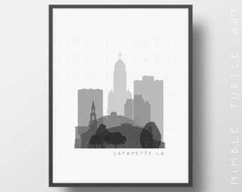 Lafayette Skyline Printable Download  -  Black and White  -  Grayscale - Lafayette LA Gallery Wall Art