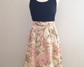 Cream floral skirt, summer midi skirt, vintage fabric midi skirt, 1970's fabric skirt, bridesmaid skirt, unique skirt, party skirt,