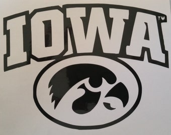 Iowa Hawkeye vinyl decal, custom colors and sizes available