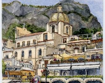 "ORIGINAL Ink and Watercolour Miniature Painting - ""Positano Beachfront"" (Amalfi Coast, Italy)"