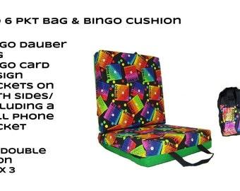 Bingo 6 Pocket Bag & Bingo Cushion Set - Black