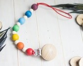 Dummy Clip. Organic Wooden Pacifier Clip. Natural Wooden Flower Clip.  Eco Friendly wooden toy.