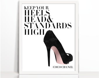 Coco Chanel quote, Coco Chanel, Quote, heels, head, Fashion Quote, Coco Chanel Quote, Heels, Typography, Motivation, Printables