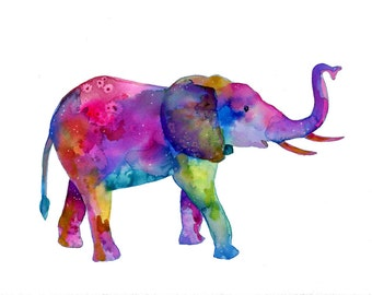 Watercolor Elephant Print - elephant painting - colorful rainbow elephant art - watercolor elephants