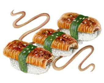 unagi nigiri art - sushi artwork - asian art - sushi painting - sushi illustration - kitchen decor - asian wall decor - eel sushi painting