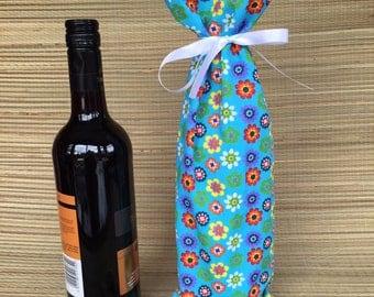 Bright Flower Fabric  Wine Bottle Gift Bag,Fabric Wine Bag,Fabric Bottle Bag, Fabric Gift Bag, Wine Bottle Bag, Wine Gift Bag, Fabric Bag