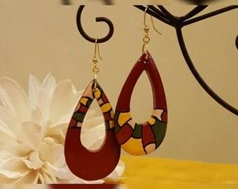 Handpainted Wooden Teardrop Earrings