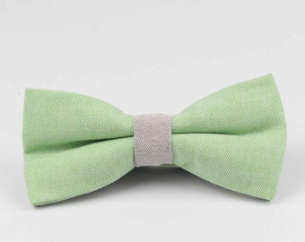Bowstie - Hand made bowtie - Green & Grey