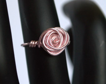 Wire Wrapped Rose Ring Red or Pink Craft Wire