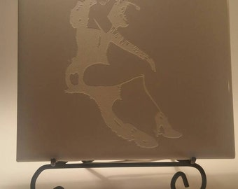 Bettie Page laser etched tile