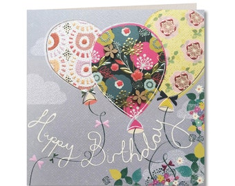 Chroma Collection - Birthday Card - Happy Birthday - Balloons - Birthday Card for Her - Birthday Greeting Card - Floral - CH03