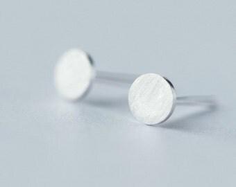 sterling silver circle stud earrings, sterling silver round stud earrings, circle earrings, round earrings, circle stud earrings, round stud