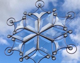 Hand made Bevelled Glass Suncatcher Decoration - Snowflake