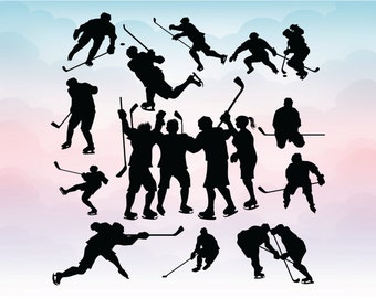 Ice hockey player silhouettes Hockey Svg for Silhouette Cricut Cameo Sport vector file