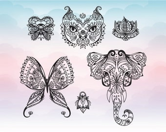 Boho style animals and flowers for cutting, vector Svg silhouette cameo cricut file for cutting, Dxf Png Eps Ai Svg Pdf Boho elements