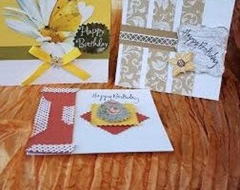 A set of three handmade birthday cards
