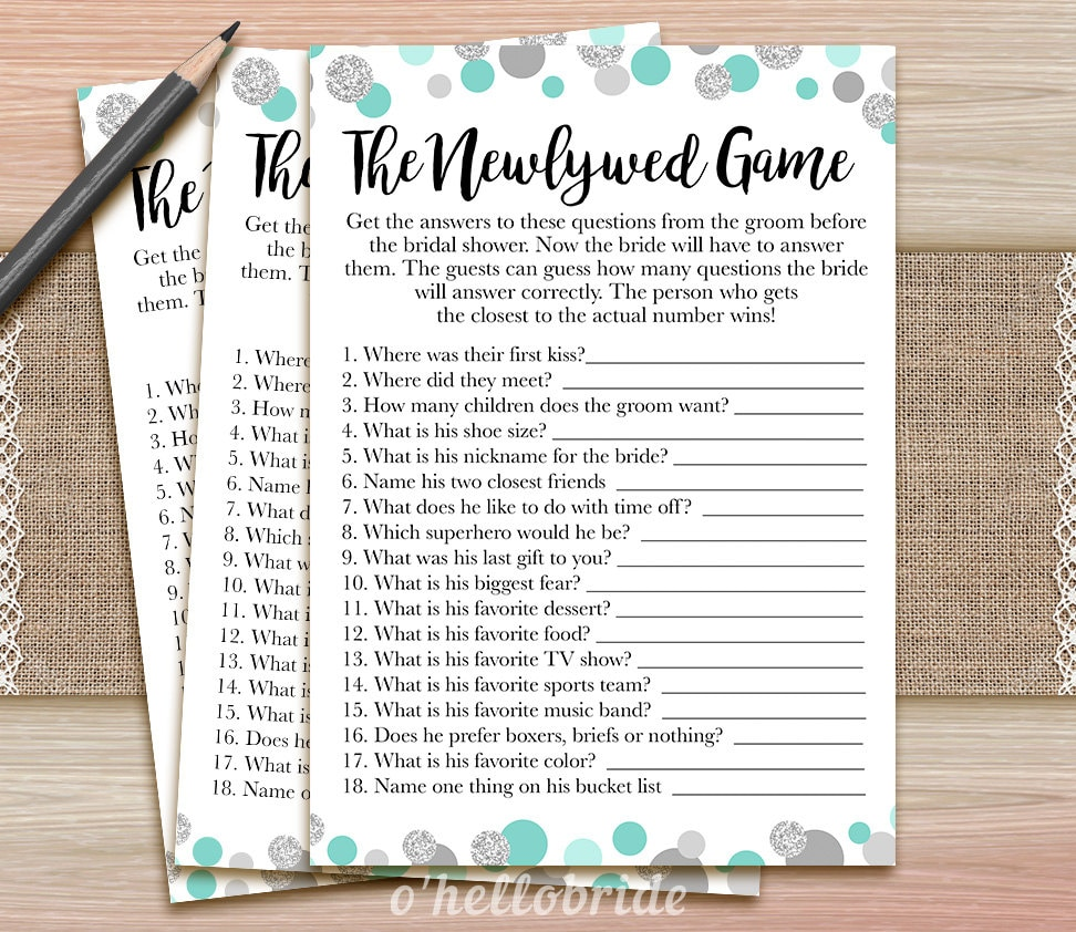 The Newlywed Game Printable Mint Bridal Shower Game