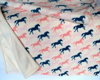 Horse Pattern - Baby or Childrens Throw Blanket. Polar fleece. Hand made.