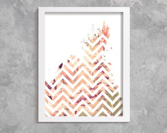 Zigzag Print, Printable Art, digital art,  Modern Wall Art, Wall Decor, Digital Download, zigzag watercolor, abstract print, sepia, brown