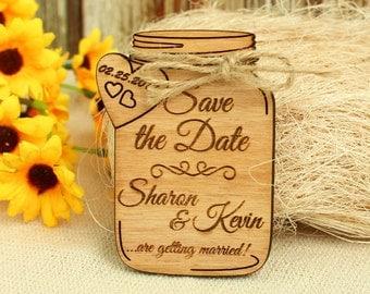 Mason Jar save the date magnet wedding save the date wood save the date wood wedding save the date rustic wedding save the date unique