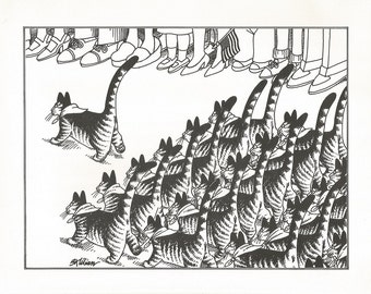 B. KLIBAN CAT Original Vintage Art Print *Boy Scouts Parade Marching* High-Quality Decorative Wall Hanging Home Decor Adorable, Comical Art