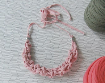 Rose pink knitted statement necklace, dusty rose necklace, cotton necklace, chunky necklace, fabric necklace
