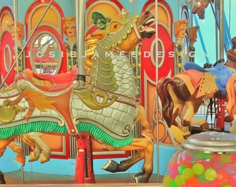 Carousel Horses, Carousel Photo, Carousel Poster, Merry Go Round, Circus Wall Art, Colorful Children's Room Decor, Kids Room,Gumball Machine