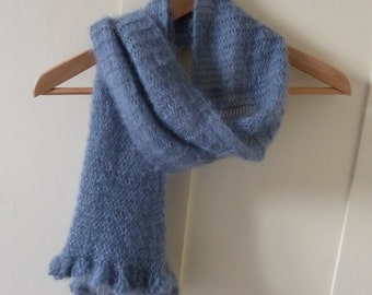Hand knitted Grey Scarf in Kidsilk Haze