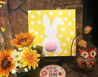 Bunny with Yellow Polka Dot Canvas