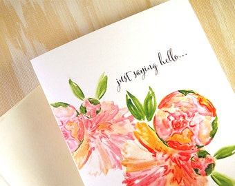 Personalized Stationery, Personalized Stationary, Housewarming Gifts, Just Saying Hello Peony Thank You Note Cards For Her, of 10
